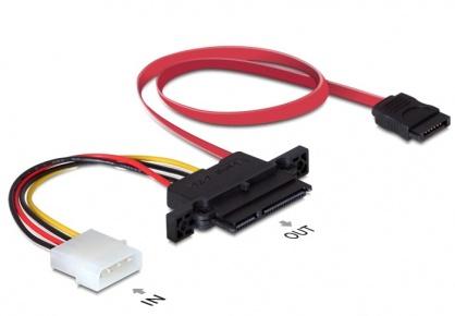 Cablu Backplane SATA 22pini la 7pini si alimentare 4pini (NSS), Delock 84421