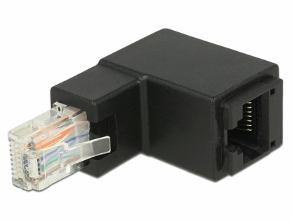 Adaptor RJ45 UTP in unghi cat 6 T-M negru, Delock 86424