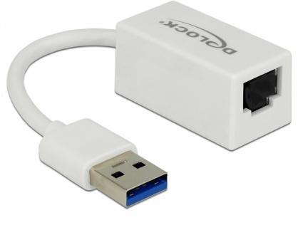 Adaptor USB 3.1-A Gen 1 la Gigabit LAN compact alb, Delock 65905