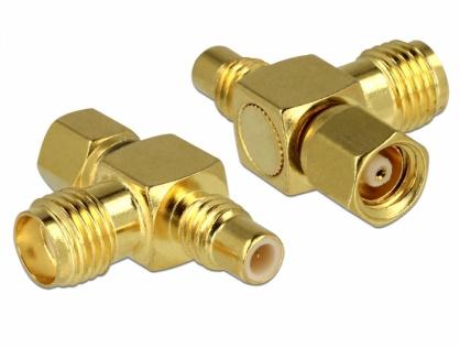 Adaptor forma T SMC jack la SMC plug la SMA jack, Delock 89629