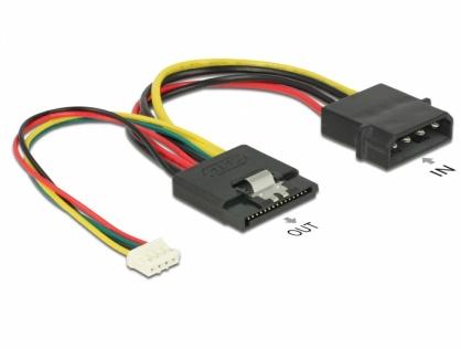 Cablu de alimentare SATA 15 pini la Molex 4 pini + 4 pini pitch 2.0, Delock 85673