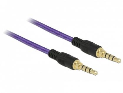 Cablu audio jack stereo 3.5mm (pentru smartphone cu husa) T-T 4 pini 1m mov, Delock 85596