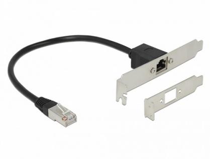 Cablu prelungitor de retea RJ45 Cat.5e 30cm cu bracket Standard/Low Profile, Delock 85803