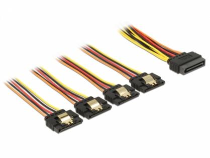 Cablu de alimentare SATA 15 pini la 4 x SATA 15cm, Delock 60156