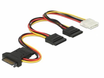 Cablu de alimentare SATA 15 pini la 3 x SATA 15 pini + 1 x Molex 20cm PCB, Delock 60171