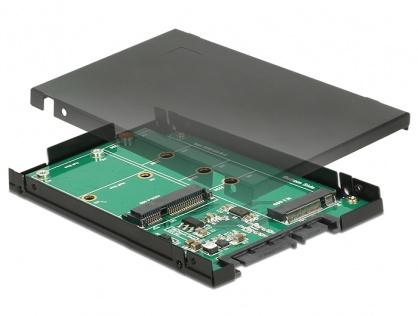 """Convertor 2.5"""" SATA 22 pini la 1 x M.2 key B + 1 x mSATA 9.5mm, Delock 62866"""