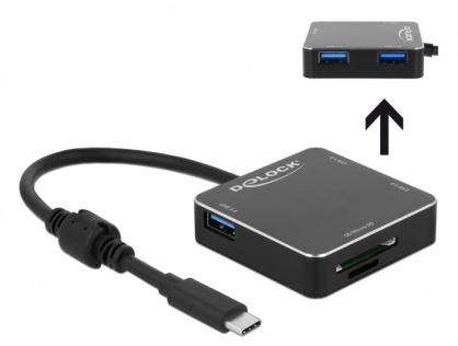 HUB USB 3.1-C la 3 x USB-A + slot SD +  slot micro SD Negru, Delock 64042