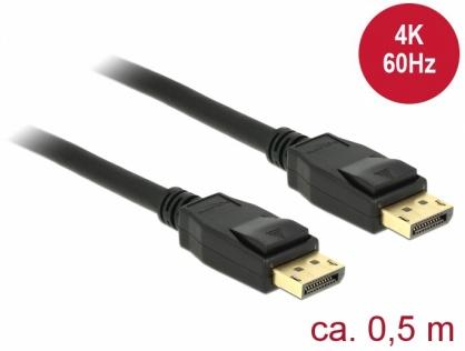 Cablu Displayport 1.2 T-T 4K 60Hz 0.5m Negru, Delock 85506