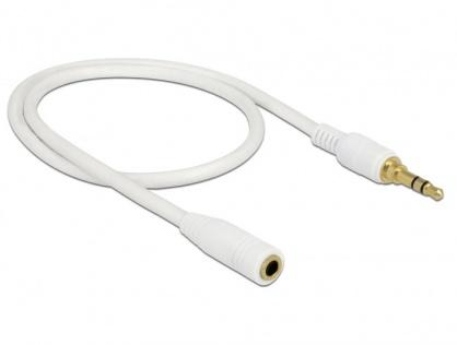 Cablu prelungitor audio jack 3.5mm (pentru smartphone cu husa) 3 pini T-M 0.5m Alb, Delock 85575