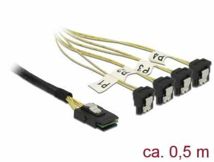 Cablu Mini SAS SFF-8087 la 4 x SATA unghi 0.5m, Delock 85686