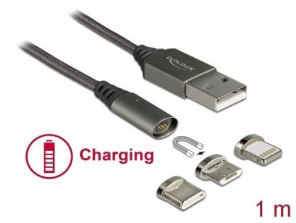 Cablu de incarcare magnetic USB la Lightning 8 pini / Micro USB / USB- C antracit 1m, Delock 85705