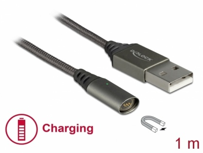 Cablu USB de incarcare magnetic 1.1m Antracit, Delock 85725