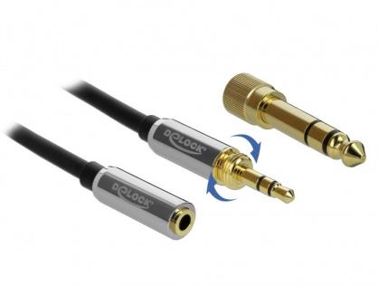 Cablu prelungitor jack stereo 3.5mm 3 pini T-M + adaptor cu surub 6.35 mm 5m, Delock 85783