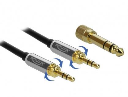 Cablu jack stereo 3.5mm 3 pini T-T + adaptor cu surub 6.35 mm 1m, Delock 85785