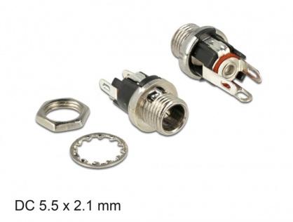 Conector mama DC 5.5 x 2.1 x 9.5 mm bulkhead, Delock 89910