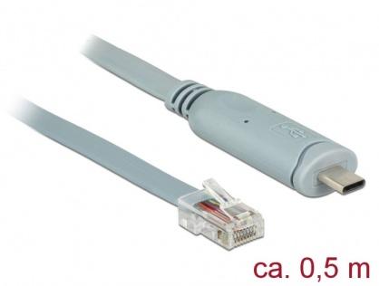 Cablu USB-C la Serial RS-232 RJ45 T-T 0.5m Gri, Delock 89917