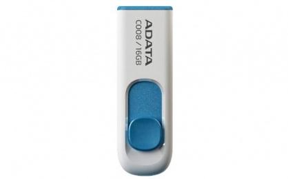 Stick USB 2.0 retractabil 16GB C008 Alb&Bleu, ADATA