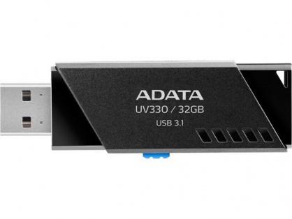 Stick USB 3.1 32GB UV330 retractabil Negru, ADATA AUV330-32G-RBK