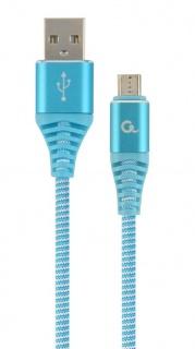 Cablu USB 2.0 la micro USB-B Premium T-T 1m Bleu/Alb brodat, Gembird CC-USB2B-AMmBM-1M-VW