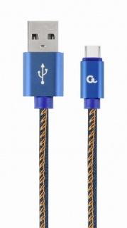 Cablu USB 2.0 la USB-C Premium jeans (denim) 1m, Gembird CC-USB2J-AMCM-1M-BL