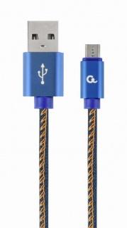 Cablu micro USB-B la USB 2.0 Premium jeans (denim) 1m, Gembird CC-USB2J-AMmBM-1M-BL
