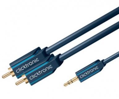 Cablu audio HQ OFC Jack 3.5mm la 2 x RCA T-T 3m, Clicktronic CLICK70468