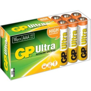 Set 16 buc baterie AAA (R3) ultra alcalina, GP Batteries