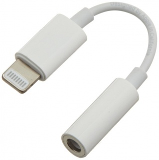 Adaptor audio iPhone Lightning MFI la jack 3.5mm T-M 10cm Alb