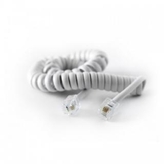 Cablu telefon RJ11 pentru receptor spiralat 2m Alb, KTCBLHE16006B