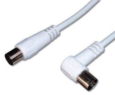 Cablu antena coaxial unghi 90 grade T-M alb 1.5m, KTMF02U