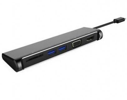 Docking station USB-C la 4K HDMI + VGA + cititor de carduri SD + 2 x USB 3.0