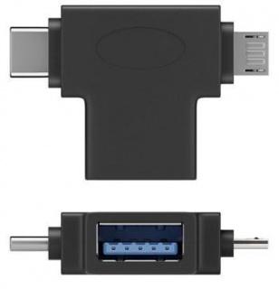 Adaptor OTG USB-A la USB-C + micro USB-B M-T Negru, 55554