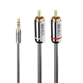 Cablu audio jack 3.5mm la 2 x RCA 2m T-T Antracit Cromo Line, Lindy L35334