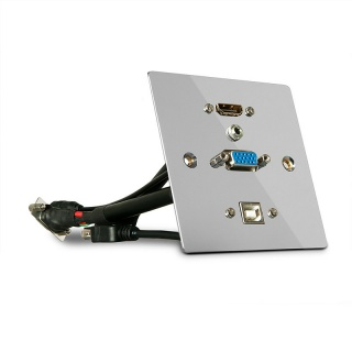 Priza aplicata metalica VGA, HDMI 4K Ultra HD, USB si Audio, Lindy L60216