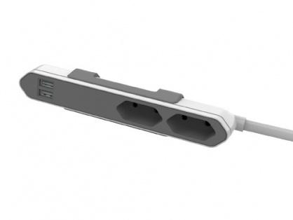 Prelungitor PowerBar 2 prize Euro + 2 x USB 2.1A 1.5m Alb,Gri, Allocacoc
