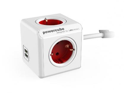 Prelungitor in forma de cub PowerCube Extended 4 prize si 2 x USB 1.5m Rosu, Allocacoc