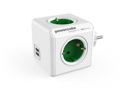Prelungitor in forma de cub PowerCube Original 4 prize Schuko si 2 X USB Verde, Allocacoc