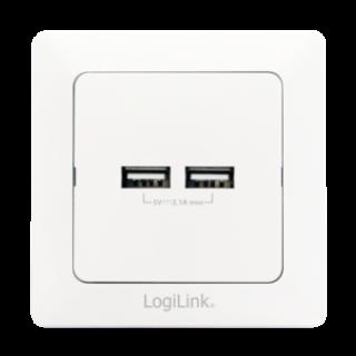Priza ingropata perete cu 2 x USB 2.1A, Logilink PA0163