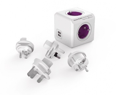 Prelungitor Power Cube ReWirable USB 4 prize + 2 x USB + 4 adaptoare priza, Allocacoc