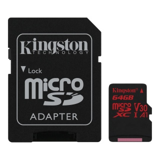 Card de memorie micro SDXC 64GB + adaptor SD Canvas React, Kingston SDCR/64GB