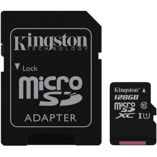 Card de memorie micro SDXC Canvas Select 128GB clasa 10 + adaptor SD, Kingston SDCS/128GB