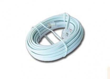 Cablu telefon RJ11 6P4C 2m Alb, Gembird TC6P4C-2M