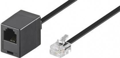Cablu prelungitor telefon RJ11 6p4c 10m Negru, Goobay 68257