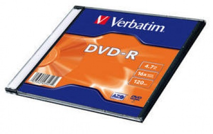 BLANK DVD-R Verbatim SL 16X 4.7GB SINGLE SLIM CASE MATT SILVER
