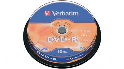 BLANK DVD-R Verbatim SL 16X 4.7GB 10PK SPINDLE MATT SILVER