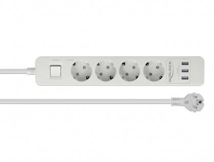 Prelungitor cu protectie 4 prize 16A si 3 x USB 5V/2.4A 1.5m Alb, Delock 11206
