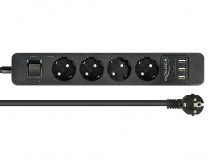 Prelungitor cu protectie 4 prize 16A si 3 x USB 5V/2.4A 1.5m Negru, Delock 11209