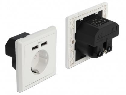 Priza perete ingropata + 2 porturi USB-A 5V/2.4A, Delock 11471