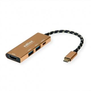 Docking station GOLD USB- C 3.1 la HDMI 4K@30Hz, 2 x USB-A, 1 x USB-C PD (Power Delivery), Roline 12.02.1119