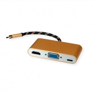 Adaptor GOLD USB-C la HDMI/VGA T-M cu alimentare PD USB-C, Roline 12.03.3155